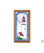 11x22 Stained Art Glass LIGHTHOUSE Wood Framed Hanging Suncatcher Panel - $52.00