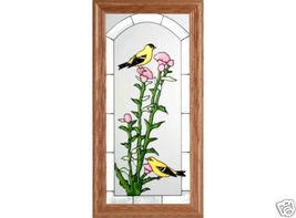 11x22 Stained Art Glass GOLDFINCH Bird Floral Wood Framed Suncatcher  - $55.00