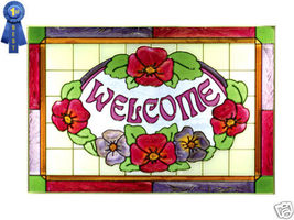 20x14 Stained Art Glass Red & Purple Pansy Floral WELCOME Window Suncatcher Sign - $70.00