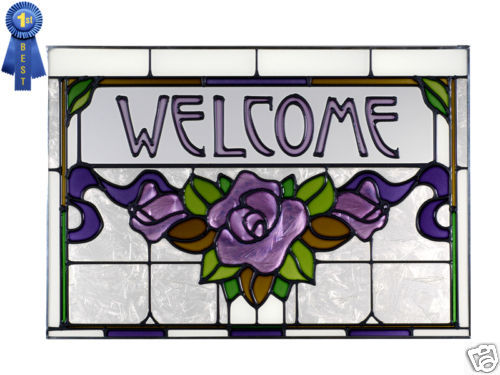 20x14 Stained Art Glass WELCOME Purple Rose Window Suncatcher
