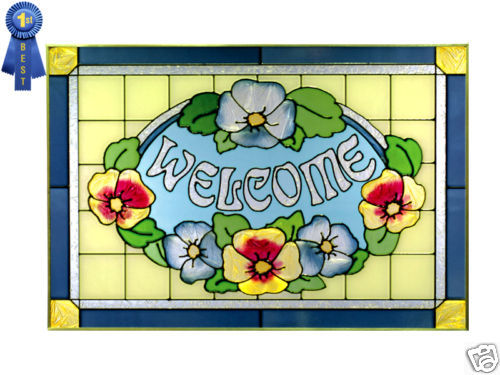 20x14 Stained Art Glass Blue Yellow Pansy Floral WELCOME Window Suncatcher Sign - $70.00