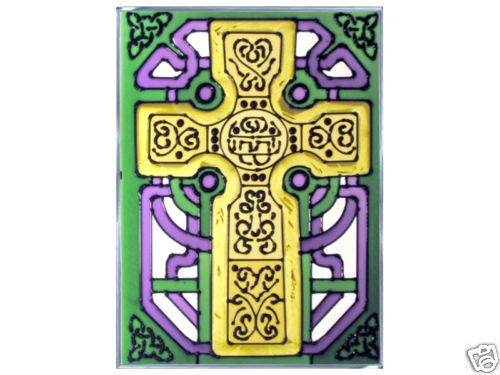 10x14 CELTIC CROSS Ireland Irish Stained Art Glass Hanging Suncatcher