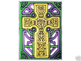 10x14 CELTIC CROSS Ireland Irish Stained Art Glass Hanging Suncatcher - $50.00