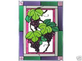 10x14 Stained Art Glass PURPLE GRAPES Vineyard Window Suncatcher - $50.00