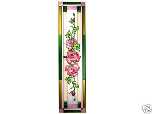 35x9 ROSES Stained Art Glass Floral Window Panel Suncatcher