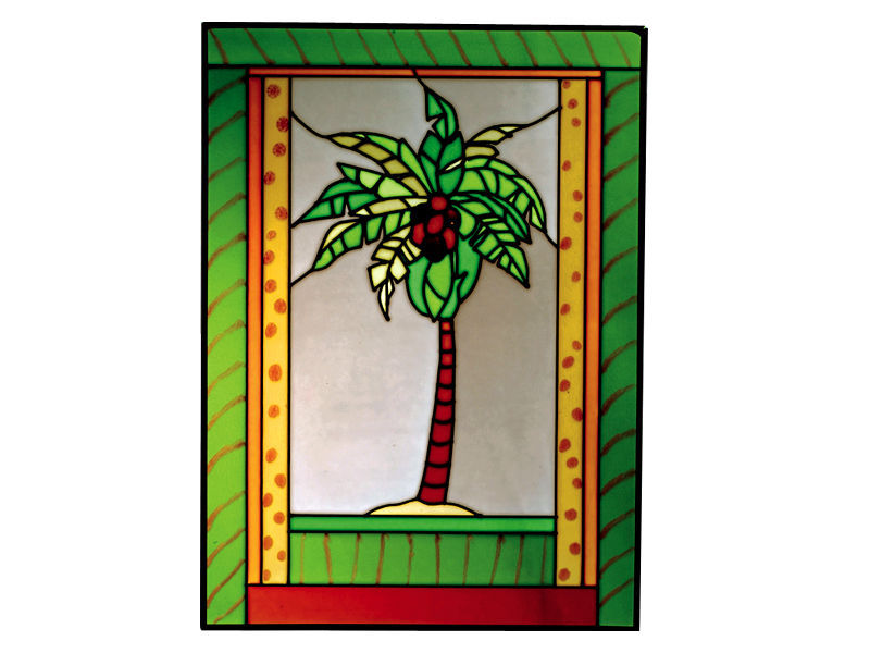 10X14 Stained Art Glass PALM TREE Tropical Hanging Suncatcher