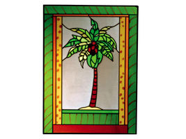 10X14 Stained Art Glass PALM TREE Tropical Hanging Suncatcher - $45.00