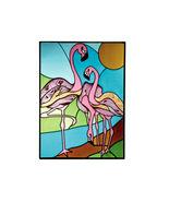 10X14 FLAMINGO Stained Art Glass Tropical Hanging Suncatcher - $45.00
