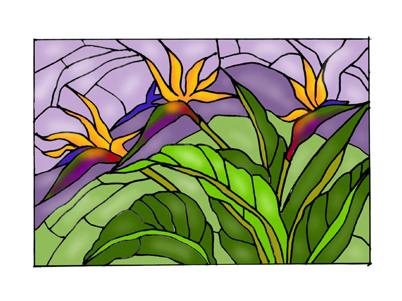 20X14 Stained Art Glass BIRD OF PARADISE Floral Hanging Suncatcher