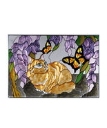 20x14 Stained Art Glass Orange TABBY CAT Wister... - $62.00
