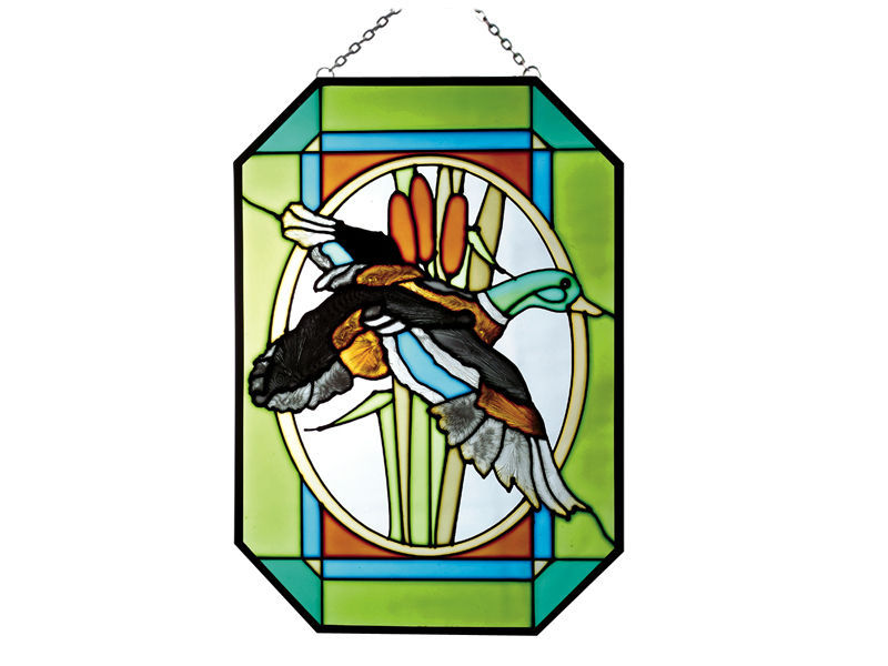 7X10 Large Stained Glass MALLARD Duck Hanging Suncatcher