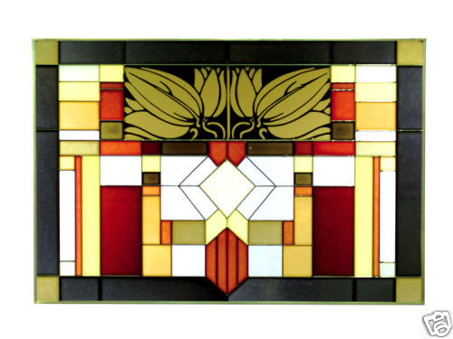 20x14 Stained Art Glass MISSION STYLE Window Suncatcher Panel