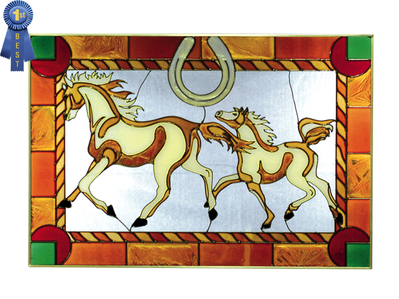 20x14 Stained Art Glass HORSE & COLT Suncatcher Hanging Window Panel