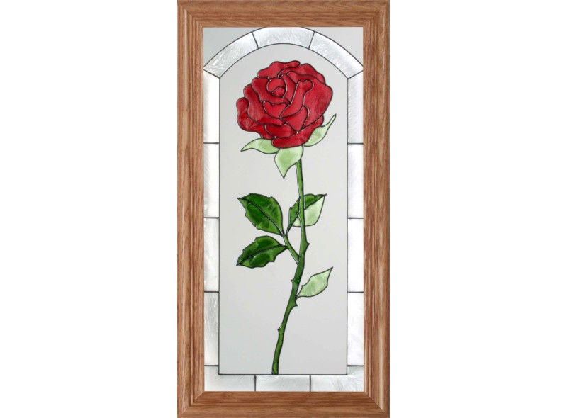 22x11 Stained Art Glass ROSE Flower Floral Suncatcher Panel