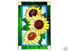 14x20 SUNFLOWER Floral Stained Art Glass Window Suncatcher - $70.00