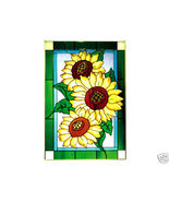 14x20 SUNFLOWER Floral Stained Art Glass Window Suncatcher - $65.00