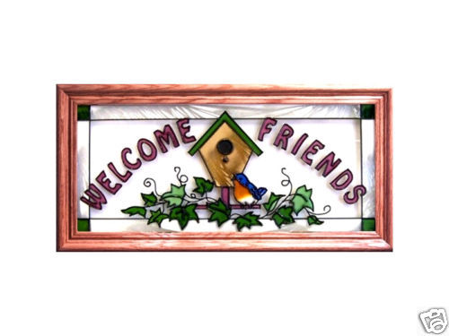 22x11 WELCOME Birds Stained Art Glass Framed Suncatcher