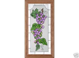 22x11 Stained Art Glass PURPLE GRAPES Framed Window  Suncatcher - $60.00