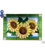 20x14 Stained Art Glass SUNFLOWER Window Panel Suncatcher - $65.00