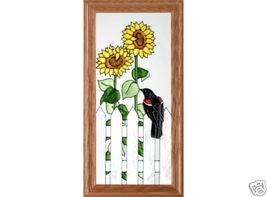 22X11 Stained Art Glass SUNFLOWER Blackbird Bird Framed Suncatcher Panel - $60.00