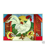 20x14 Stained Art Glass ROOSTER Chicken Suncatcher Panel - $65.00