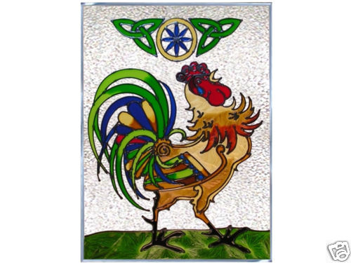 10x14 Stained Art Glass IRISH Celtic ROOSTER Suncatcher Panel