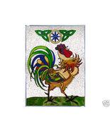 10x14 Stained Art Glass IRISH Celtic ROOSTER Suncatcher Panel - $50.00