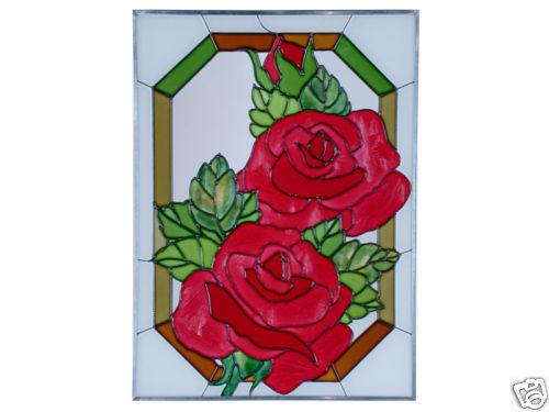 10x14 Stained Art Glass RED ROSE Flower Floral Suncatcher Panel