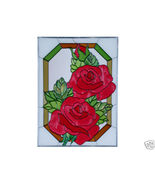 10x14 Stained Art Glass RED ROSE Flower Floral Suncatcher Panel - $45.00