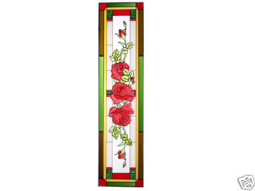 42x10 Stained Art Glass ROSES Floral Suncatcher Window Panel