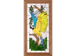 22x11 MACAW Parrot Bird Tropical Stained Art Glass Framed Suncatcher  - $60.00