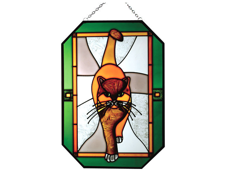 7X10 LARGE Stained Glass Art TABBY CAT Kitty SUNCATCHER