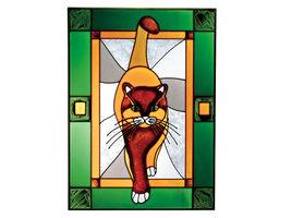 10x14 Stained Glass TABBY CAT Kitty Window Suncatcher - $50.00