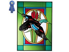 10x14 Stained Art Glass MALLARD DUCK Window Hanging Suncatcher - $50.00