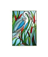 14x20 BLUE HERON Bird Stained Art Glass Suncatcher  - $75.00