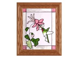 10x12 Stained Art Glass HUMMINGBIRD Bird Floral Framed Wall Suncatcher - $40.00