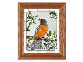 10x12 Stained Art Glass ROBIN Song Bird Framed Wall Suncatcher - $40.00