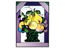 10x14 Stained Art Glass FRUIT Pear Plum Grapes Suncatcher Panel - $50.00