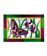 20x14 Stained Art Glass BUTTERFLY Flowers Sunca... - $62.00