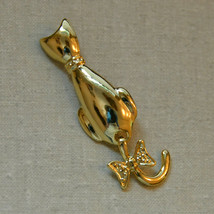 Vintage articulated tail moves gold tone cat animal brooch pin - $12.86