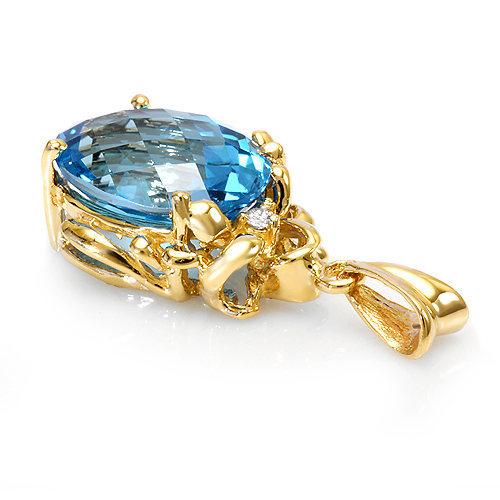 11.3 ct Blue Topaz and diamond Pendant 14k gold