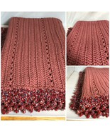 Hand Made Blanket Crochet Knit Afghan Dark Rose Color Throw - $52.07