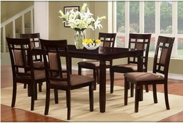 Dining Room Table Set Dark Cherry Solid Wood Furniture 7 Piece 1 Table 6... - $865.80