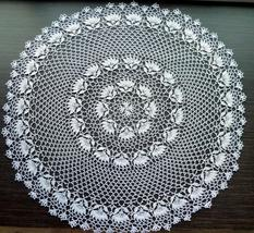 White Round Crochet Doily with Edging/White Round Crochet Tablecloth - $38.00
