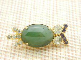 Green Agate Rhinestone Owl Gold Tone Pin Brooch Vintage image 3