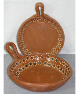 Lot of 2 Mexican Redware Pottery Shallow Bowls Decor - $24.99