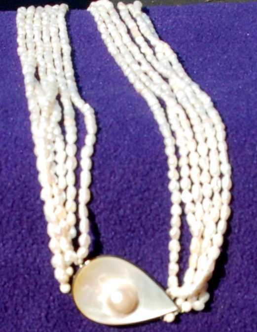 multistrand freshwater pearl MOP necklace tear drop pendant