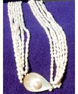 multi-strand freshwater pearl MOP necklace tear drop pendant - $36.00