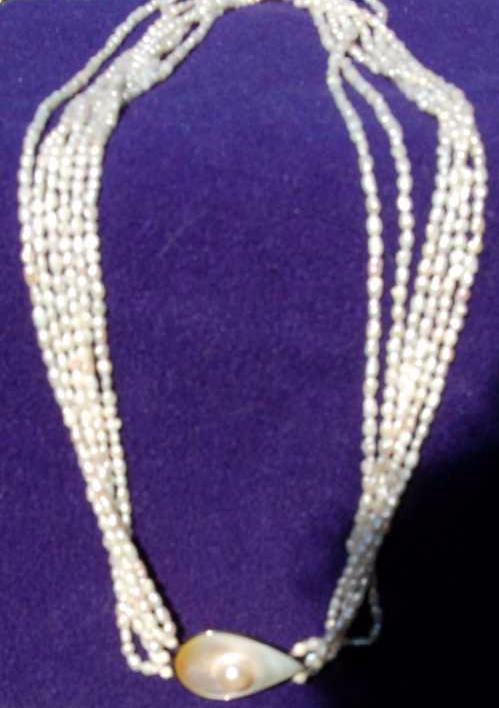 multi-strand freshwater pearl MOP necklace tear drop pendant
