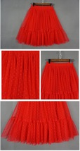 Knee Length Pleated Tulle Skirt Red POLKA DOT Tulle Skirt Bridesmaid Party Skirt image 2